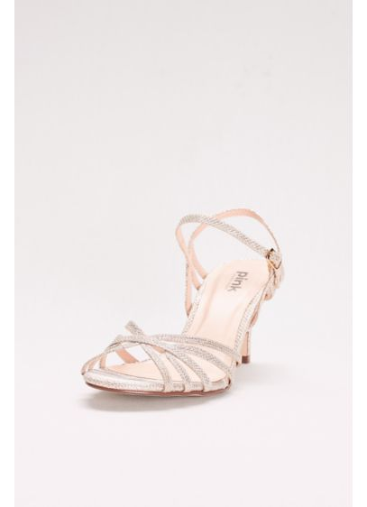 Pink Paradox Ivory (Thin Strap Low Heel Glitter Sandals)