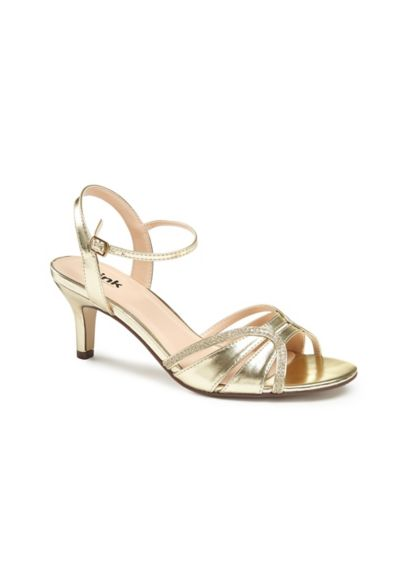 Pink Paradox Yellow (Metallic Mid Heel Sandals with Ankle Strap)
