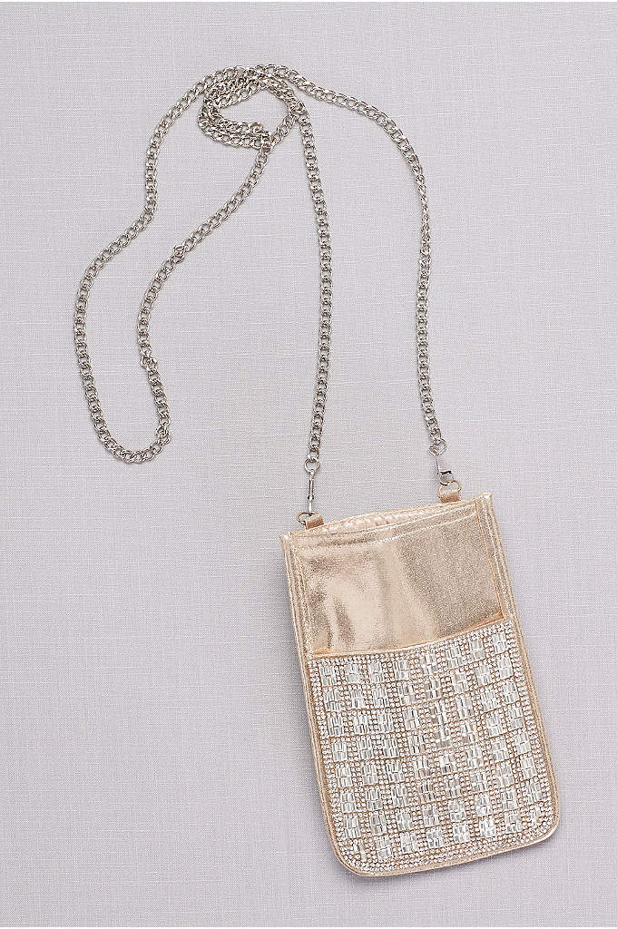 Gridded Crystal Mini Bag with Chain Strap - A chic grid of crystals and mirrored beads