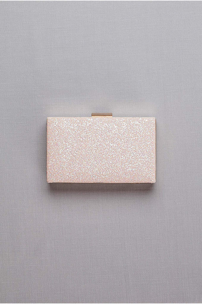 Iridescent Glitter Minaudiere - On-trend rose gold metal and iridescent glitter form