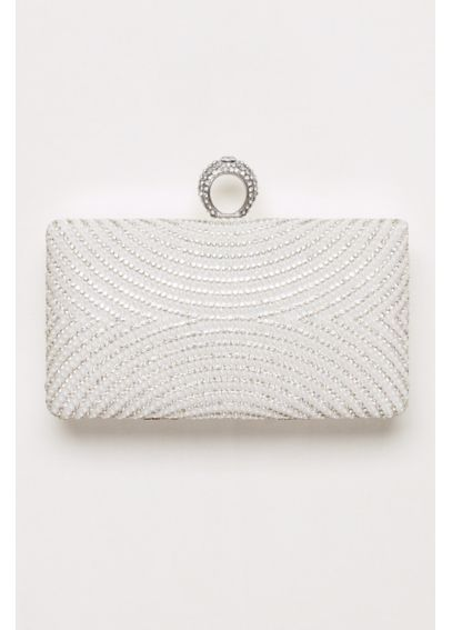 Curved Pearl and Crystal Minaudiere  HBCARINA43