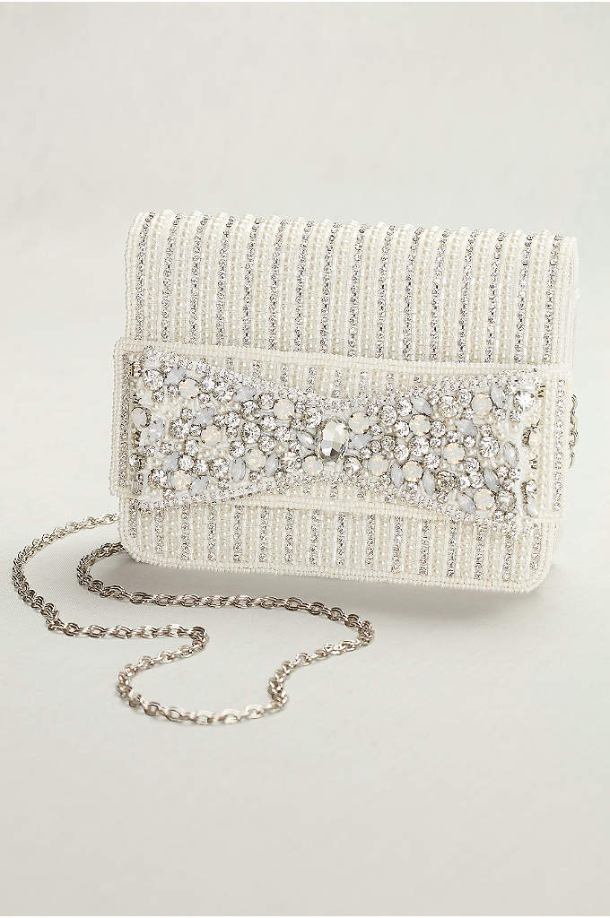 Beaded Bow Clutch - Opalescent and pearlescent beads and crystals adorn this