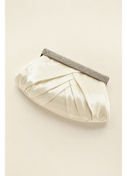 Soft Pleated Clutch with Crystal Clasp - Wedding Accessories