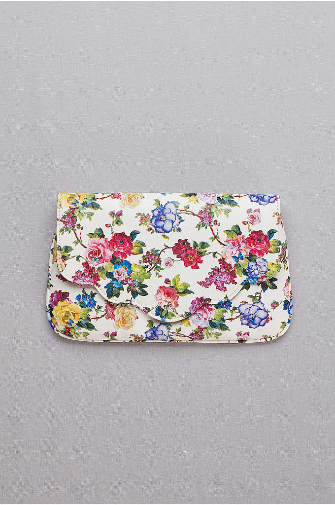 Scalloped Floral Foldover Clutch - The fresh botanical print of this scalloped faux-leather