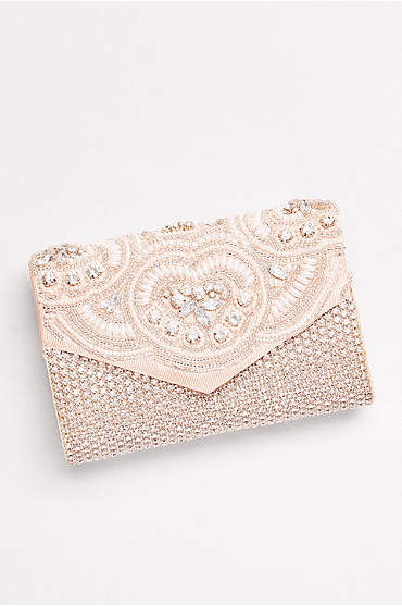 Embroidered Pearl and Rhinestone Clutch