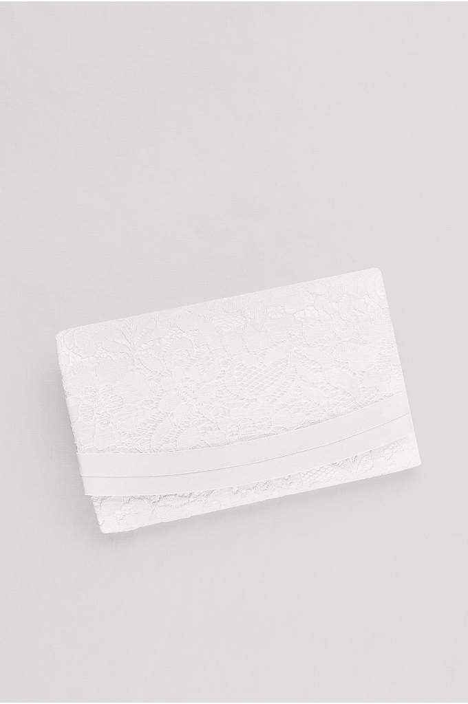 Lace-Over-Satin Structured Clutch - A perfect clutch for the bride, this satin-trimmed