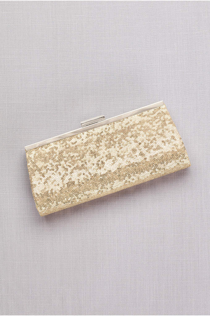 Allover Sequin Frame Clutch - Make an elegant accessory statement with this sequin-covered