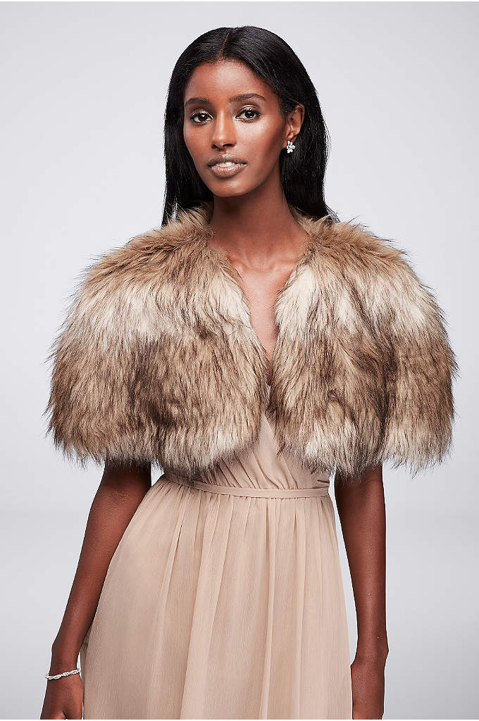 Faux Fur Shrug - The perfect accessory for a cool-weather occasion, this