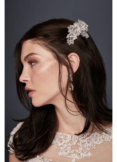 Silver Floral Comb with Pearls - Wedding Accessories