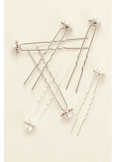 Pearl and Rhinestone Surround Hair Pins HJ13523
