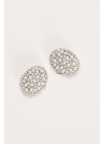 Oval Pearl and Crystal Shoe Clip - Wedding Accessories