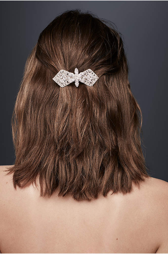 Floral Crystal Deco Barrette - Crystal wings, centered by a jeweled flower, create