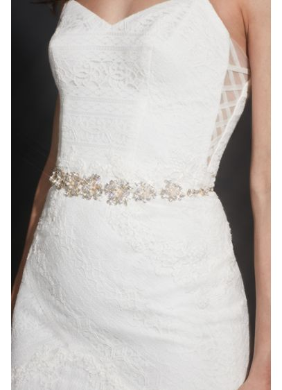 Pearl and Pave Crystal Flower Sash - Wedding Accessories