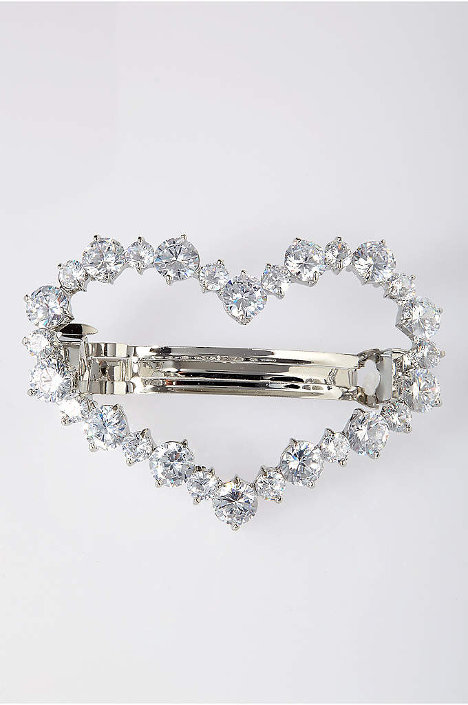 Cubic Zirconia Heart Barrette - This cubic zirconia heart is a sweet and