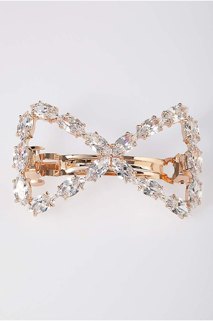 Cubic Zirconia Bow Barrette - This cubic zirconia bow is a sweet and
