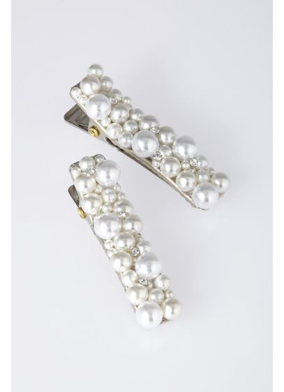 Small Pearl Cluster Barrette Set - Wedding Accessories