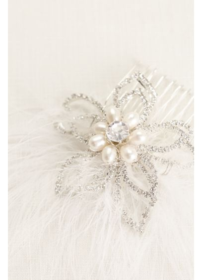 Crystal and Flower Feather Comb - Wedding Accessories