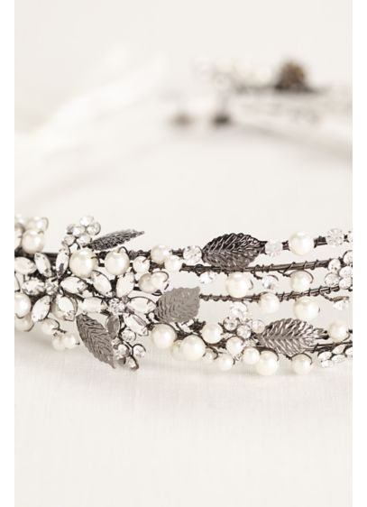 Pearl and Crystal Spray Headband - Wedding Accessories