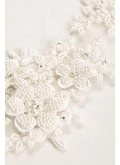 Tulle Headband with Beaded Flowers - Wedding Accessories