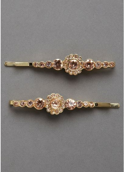 Gold Bobby Pins with Rhinestones Set of Two - Wedding Accessories