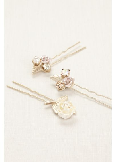 Set of Three Floral Hair Pins HPMS251404