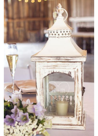 Personalized Rustic Heart Centerpiece Lantern - Wedding Gifts & Decorations