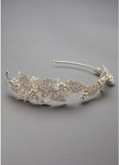 Crystal and Pearl Leaf Motif Headband - Wedding Accessories