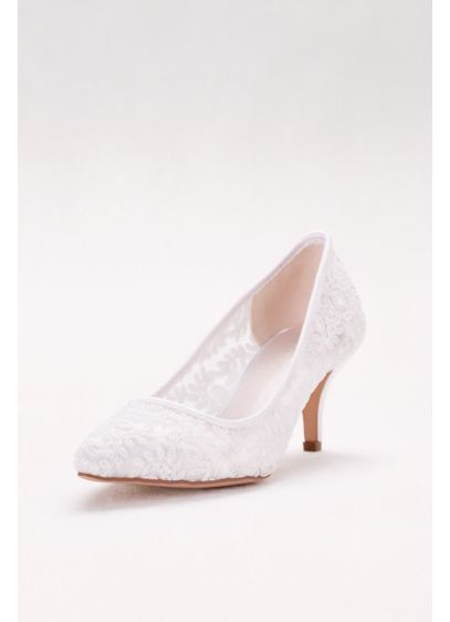 David's Bridal White (Embroidered Mesh Pointed-Toe Pumps)