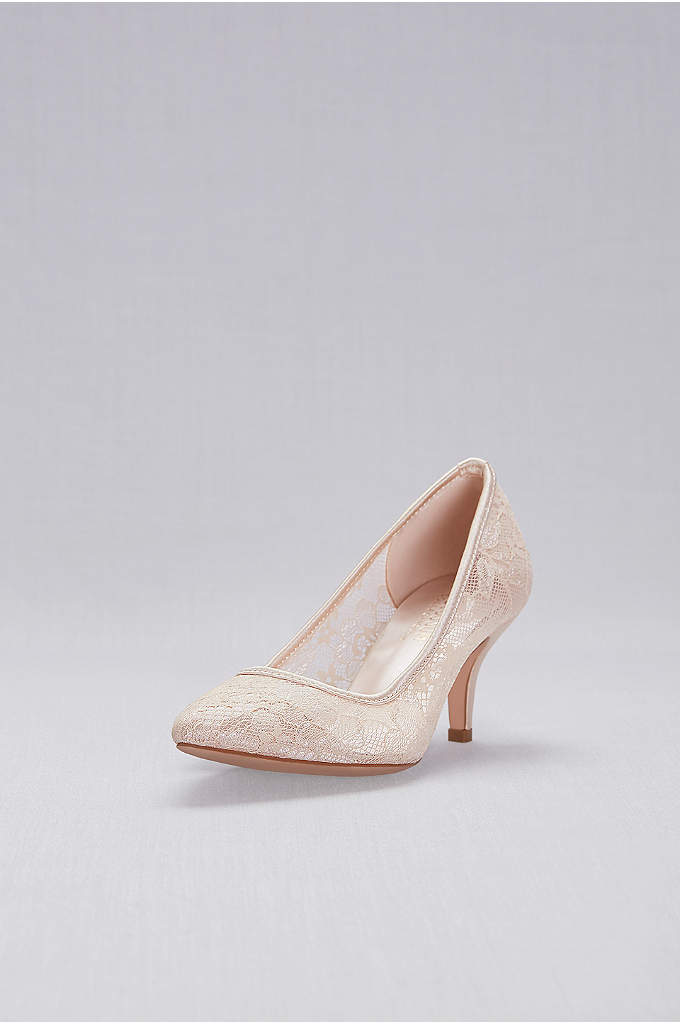Lace Pointed-Toe Mid-Heel Pumps - Chic and sophisticated, these pointed-toe, mid-heel pumps feature