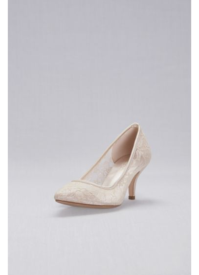 Blossom Beige (Lace Pointed-Toe Mid-Heel Pumps)