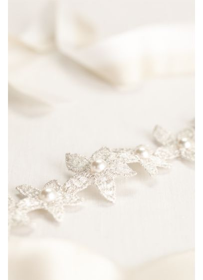 Metallic Flower and Pearl Silk Ribbon Headwrap - Wedding Accessories