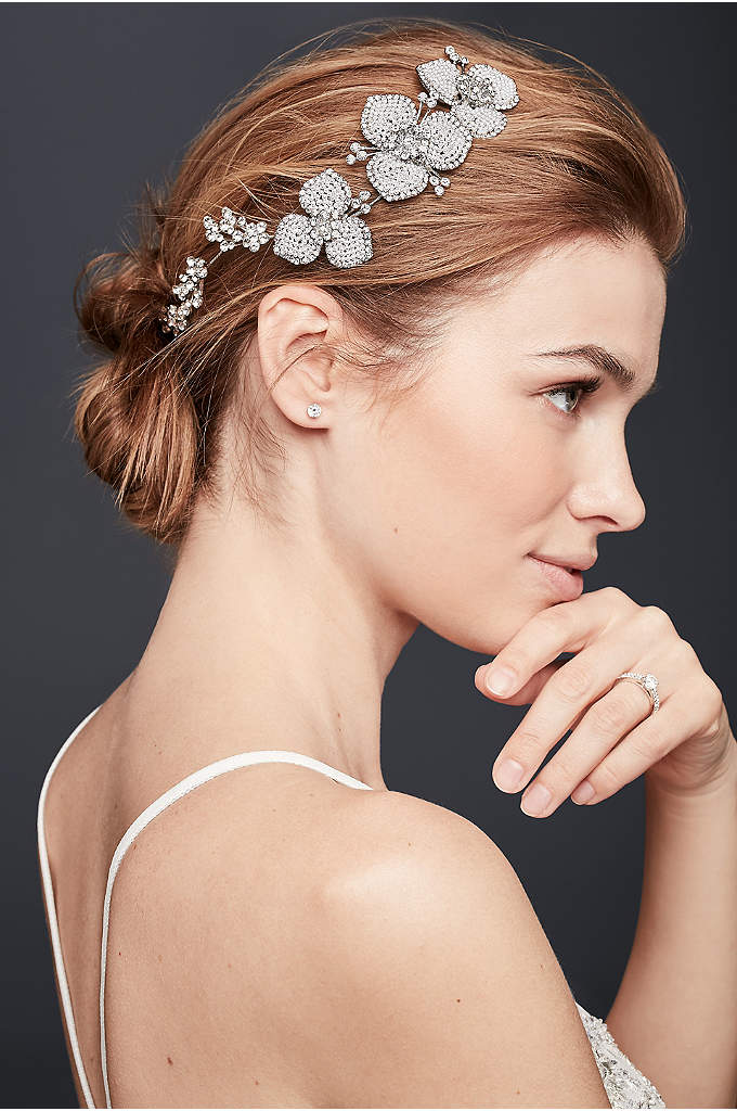 Seed Pearl and Crystal Floral Hair Vine - Polished waves are the ultimate wedding day 'do,