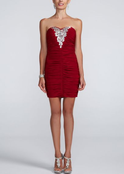 Strapless Ruched Jersey Dress with Beading I820307A1