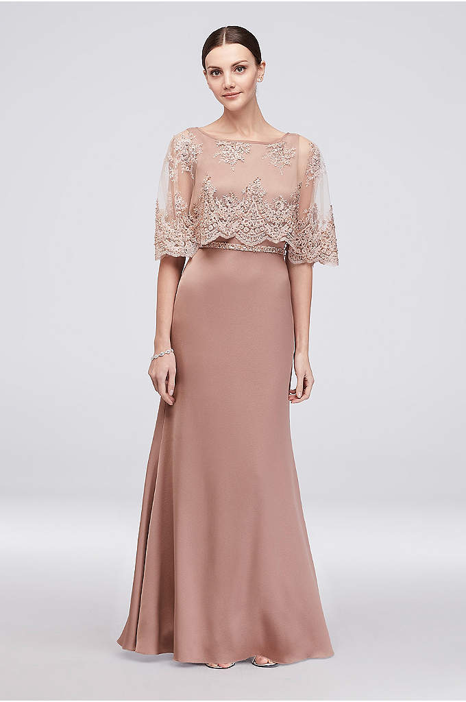 Satin Sheath Gown with Scalloped Lace Capelet - Flowing satin and a scalloped lace capelet bodice