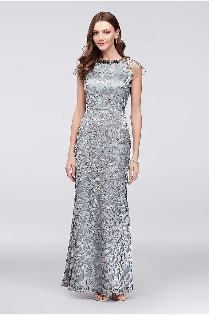 Metallic Lace Cap Sleeve Sheath with Neck Beading - A floral-beaded neckline and illusion cap sleeves add
