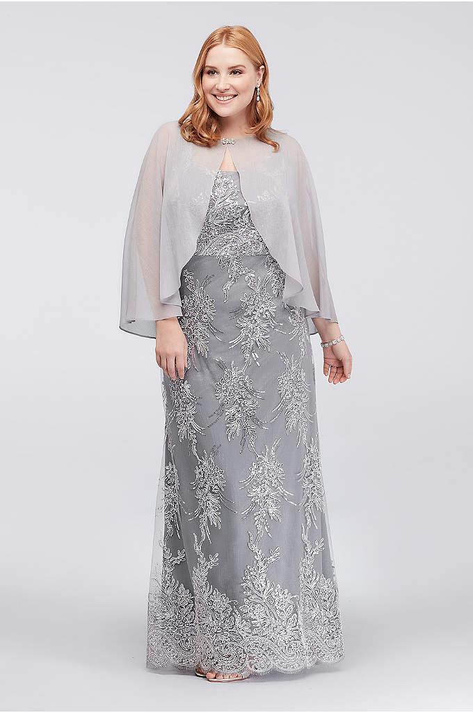 Corded Lace Plus Size Sheath and Chiffon Capelet - This sequin and corded lace plus-size sheath dress