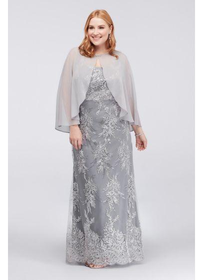 Long Mermaid/ Trumpet Capelet Formal Dresses Dress - SL Fashions