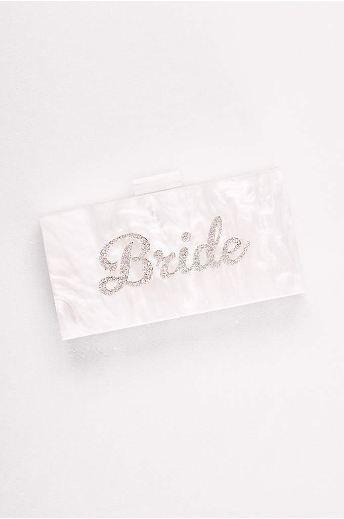 Lucite Bride Minaudiere - Glittery script puts the finishing touch on this