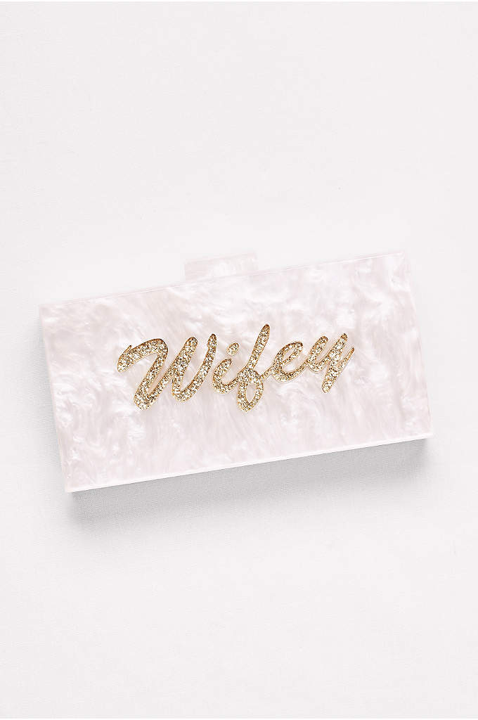 Lucite Wifey Minaudiere - Glittery script puts the finishing touch on this