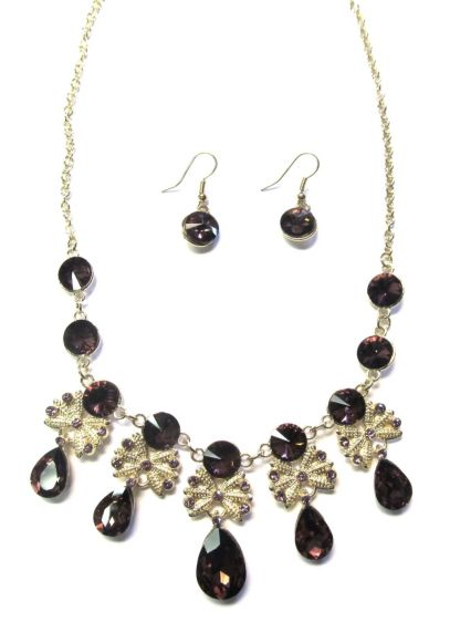 Colored Stone Necklace and Earring Set - Wedding Accessories