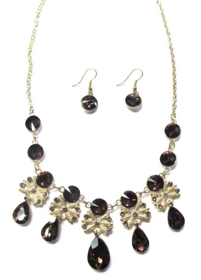 Colored Stone Necklace and Earring Set INK13785