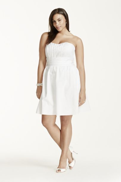 Short Strapless Cotton Sateen Dress - Davids Bridal