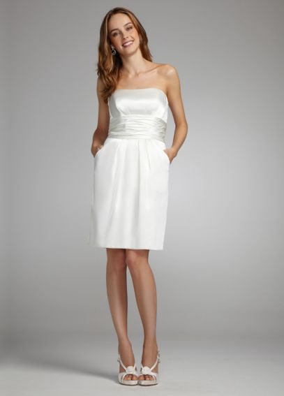 Short Charmeuse Dress with Ruched Waist & Pockets INT83707