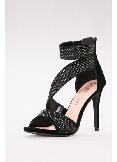 Blossom Black (High Heel Suede and Crystal Embellished Sandals)