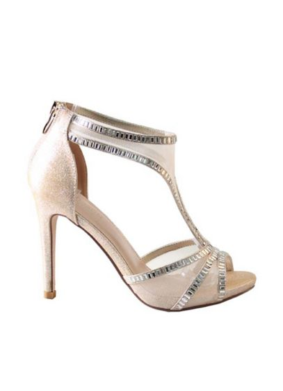 Blossom Beige (Mesh T-Strap High Heels with Crystal Embellishment)