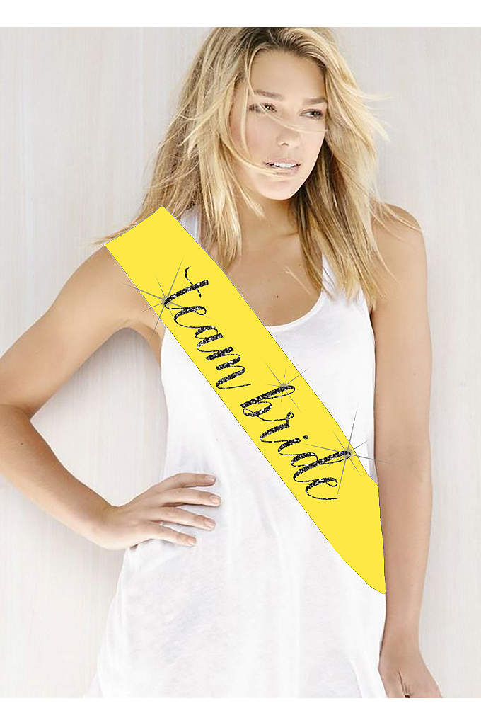 Glitter Print Team Bride Sash - Double-faced satin sash embellished with 'Team Bride' in