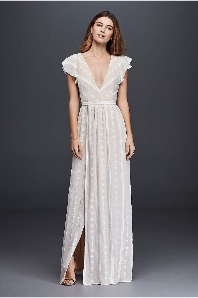 Embroidered Chiffon Dress with Plunging Neckline - A perfect combination of sweet and edgy, this