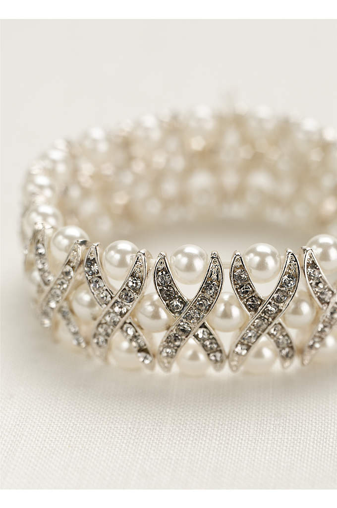 Pearl and Crystal X Design Bracelet - This beautiful pearl and crystal bracelet is a
