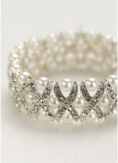 Pearl and Crystal X Design Bracelet - Wedding Accessories