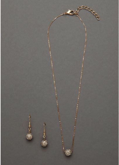 Pave Fireball Gold Necklace and Earring Set - Wedding Accessories
